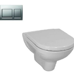 LAUFEN PRO WALL HANGING WATER CLOSET BOWL ONLY WHITE, TANK AND CHROME PUSH BOTTOM